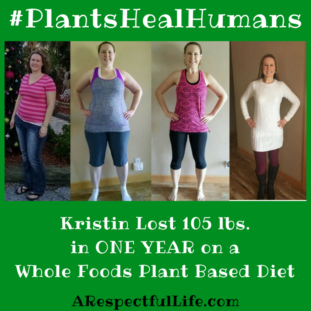 Kristin lost 105 lbs on a vegan diet