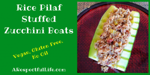 Rice Pilaf Stuffed Zucchini Boats