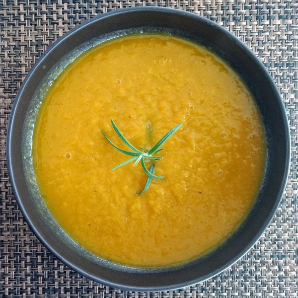 pumpkin leek soup with rosemary